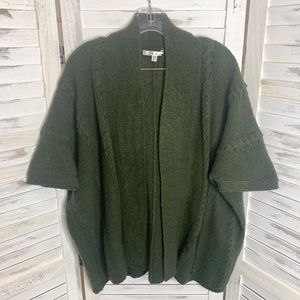 CABI STYLE #145 Open Front Knit Cardigan Green S/M
